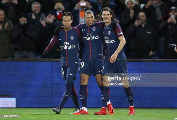 Kylian Mbappe of PSG celebrates his goal between Neymar Jr and Edinson Cavani during the French Ligue 1 match between Paris Saint Germain and Dijon...