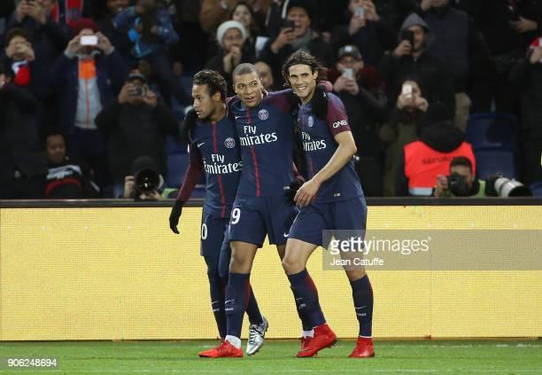 Kylian Mbappe of PSG celebrates his goal between Neymar Jr and Edinson Cavani during the French Ligue 1 match between Paris Saint Germain and Dijon...