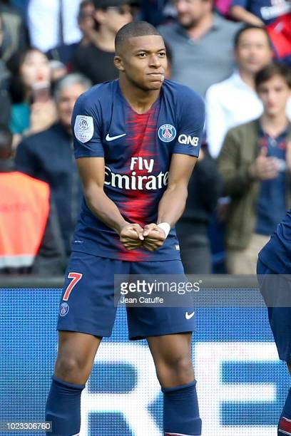 Kylian Mbappe of PSG celebrates his goal during the french Ligue 1 match between Paris SaintGermain and SCO Angers at Parc des Princes stadium on...
