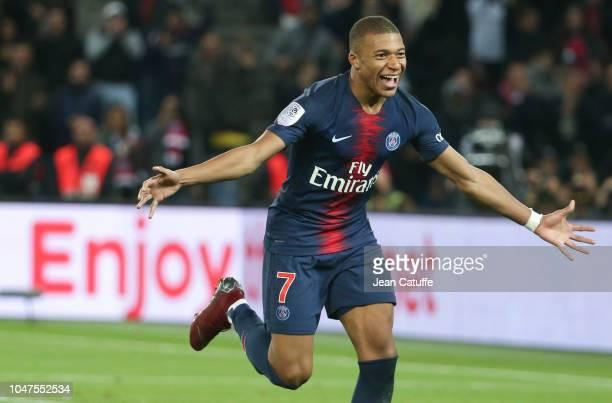Kylian Mbappe of PSG celebrates his goal during the french Ligue 1 match between Paris SaintGermain and Olympique Lyonnais at Parc des Princes...