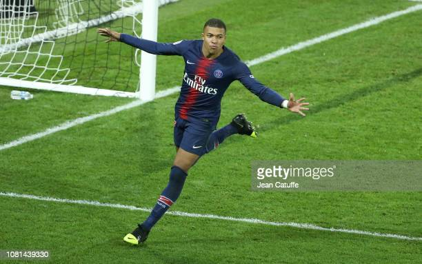 Kylian Mbappe of PSG celebrates his goal during the french Ligue 1 match between Amiens SC and Paris Saint Germain at Stade de la Licorne on January...