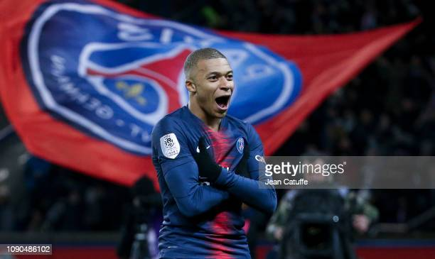 Kylian Mbappe of PSG celebrates his goal during the french Ligue 1 match between Paris SaintGermain and Stade Rennais FC at Parc des Princes on...