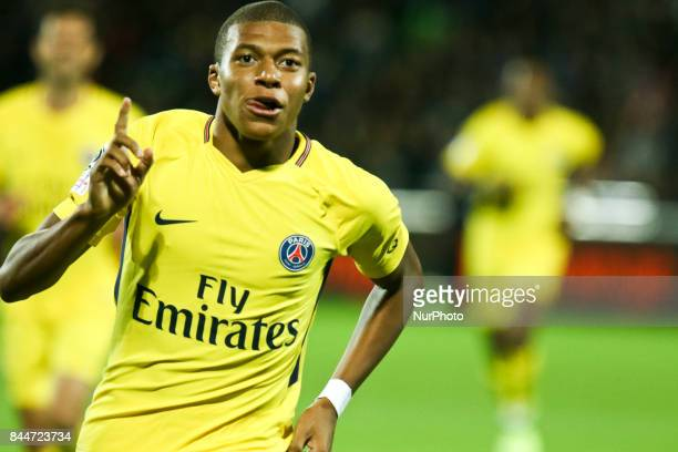 Kylian Mbappe of PSG celebrates his goal during the French Ligue 1 match between FC Metz and Paris Saint Germain at Stade Saint-Symphorien on...