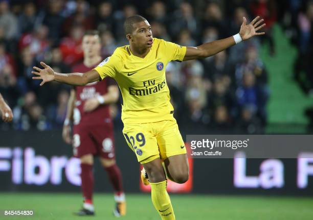 Kylian Mbappe of PSG celebrates his goal during the French Ligue 1 match between FC Metz and Paris Saint Germain at Stade SaintSymphorien on...