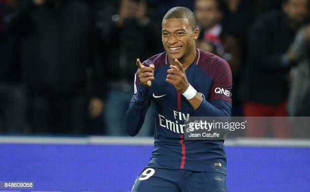 Kylian Mbappe of PSG celebrates his goal during the French Ligue 1 match between Paris Saint Germain and Olympique Lyonnais at Parc des Princes on...