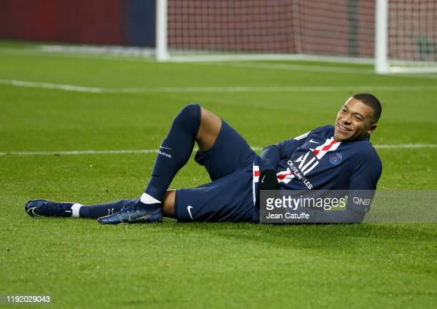 Kylian Mbappe of PSG celebrates his goal during the Ligue 1 match between Paris SaintGermain and FC Nantes at Parc des Princes stadium on December 4...