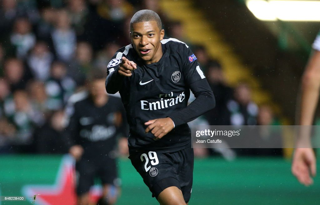 Kylian Mbappe of PSG celebrates his goal during the UEFA Champions League match between Celtic Glasgow and Paris Saint Germain (PSG) at Celtic Park on September 12, 2017 in Glasgow, Scotland.