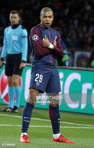 Kylian Mbappe of PSG celebrates his goal during the UEFA Champions League group B match between Paris SaintGermain and Celtic FC at Parc des Princes...