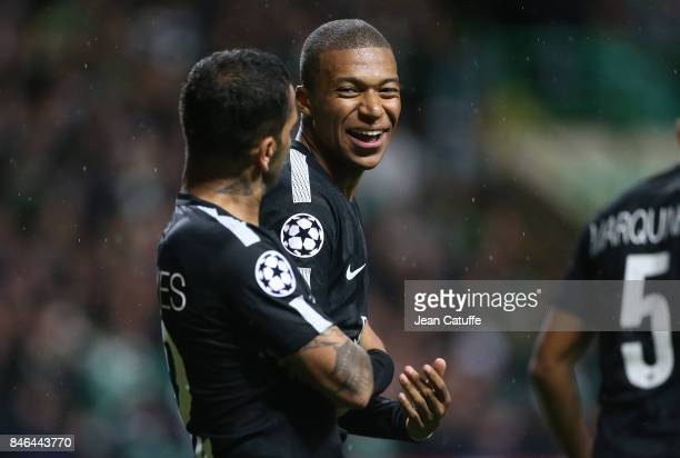 Kylian Mbappe of PSG celebrates his goal with Dani Alves aka Daniel Alves during the UEFA Champions League match between Celtic Glasgow and Paris...