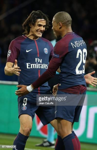 Kylian Mbappe of PSG celebrates his goal with Edinson Cavani during the UEFA Champions League group B match between Paris SaintGermain and Celtic FC...