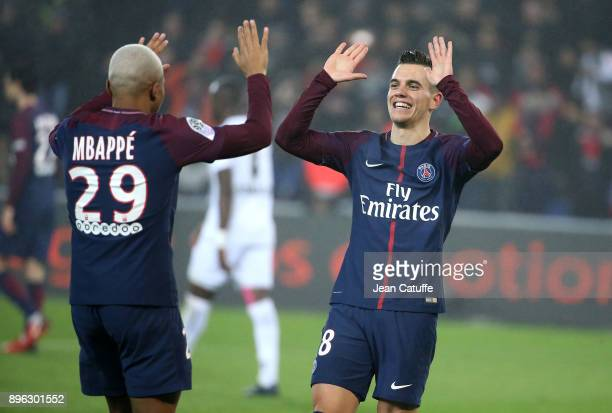 Kylian Mbappe of PSG celebrates his goal with Giovani Lo Celso during the French Ligue 1 match between Paris Saint Germain and Stade Malherbe Caen at...