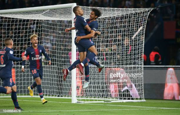 Kylian Mbappe of PSG celebrates his goal with Marquinhos Neymar Jr during the french Ligue 1 match between Paris SaintGermain and Olympique Lyonnais...