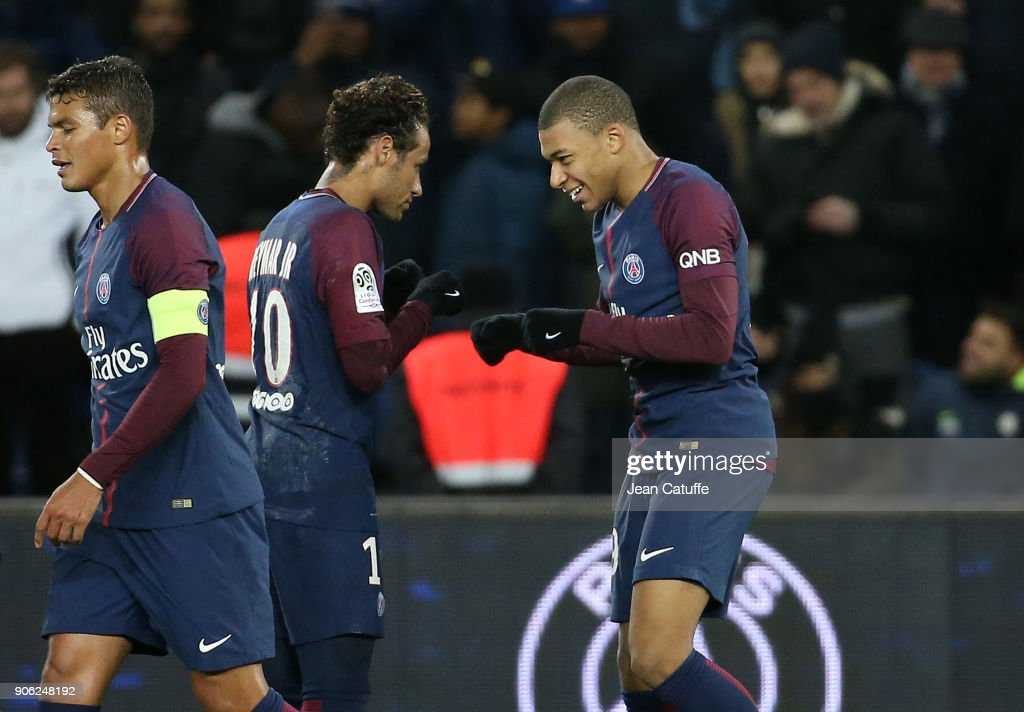 Kylian Mbappe of PSG celebrates his goal with Neymar Jr (left) during the French Ligue 1 match between Paris Saint Germain (PSG) and Dijon FCO at Parc des Princes stadium on January 17, 2018 in Paris, France.
