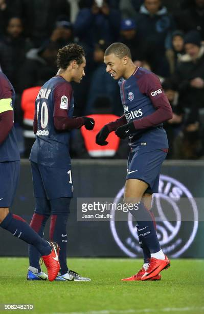Kylian Mbappe of PSG celebrates his goal with Neymar Jr during the French Ligue 1 match between Paris Saint Germain and Dijon FCO at Parc des Princes...