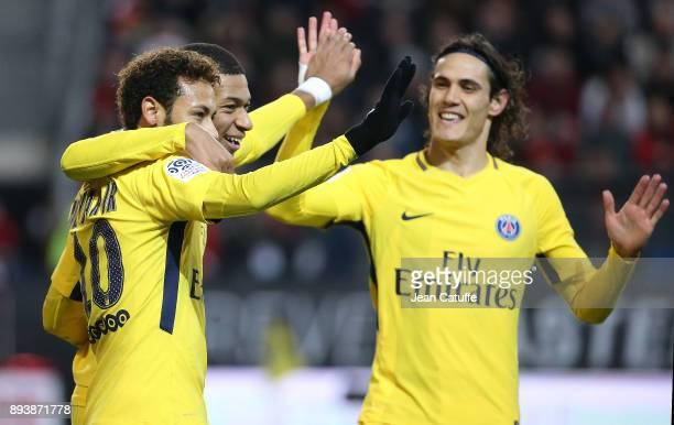 Kylian Mbappe of PSG celebrates his goal with Neymar Jr Edinson Cavani during the French Ligue 1 match between Stade Rennais and Paris Saint Germain...