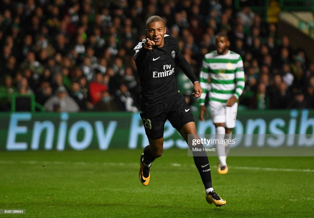 Kylian Mbappe of PSG celebrates scoring his sides second goal during the UEFA Champions League Group B match between Celtic and Paris Saint Germain at Celtic Park on September 12, 2017 in Glasgow, Scotland.