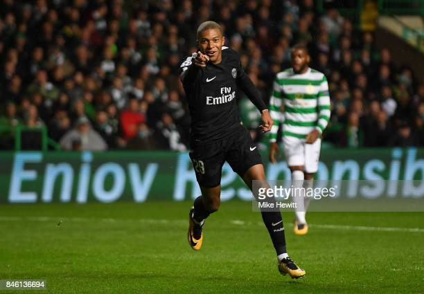 Kylian Mbappe of PSG celebrates scoring his sides second goal during the UEFA Champions League Group B match between Celtic and Paris Saint Germain...