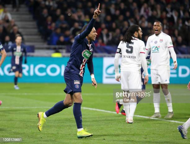 Kylian Mbappe of PSG celebrates the first goal of PSG during the French Cup Semi Final match between Olympique Lyonnais and Paris Saint-Germain at...