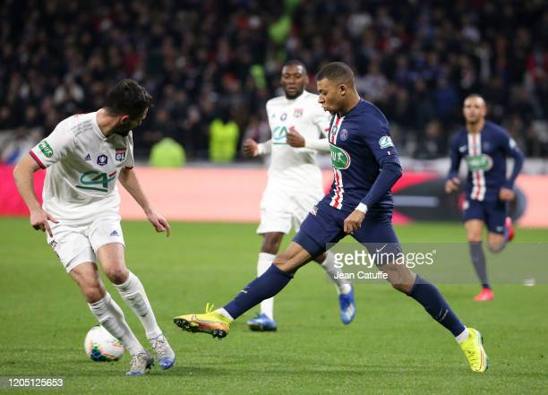 Kylian Mbappe of PSG during the French Cup Semi Final match between Olympique Lyonnais and Paris Saint-Germain at Groupama Stadium on March 4, 2020...