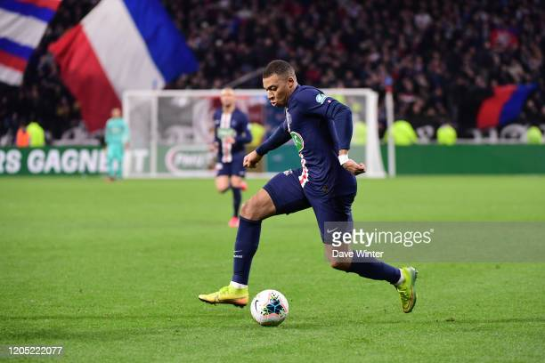 Kylian MBAPPE of PSG during the French Cup semi-final between Olympique Lyonnais and Paris Saint Germain on March 4, 2020 in Lyon, France.