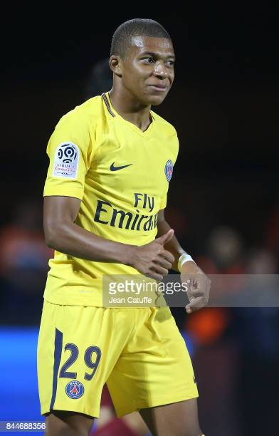 Kylian Mbappe of PSG during the French Ligue 1 match between FC Metz and Paris Saint Germain at Stade SaintSymphorien on September 9 2017 in Metz...