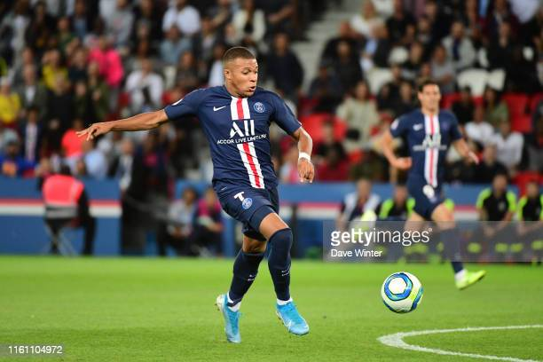 Kylian Mbappe of PSG during the Ligue 1 match between Paris Saint Germain and Nimes at Parc des Princes on August 11, 2019 in Paris, France.