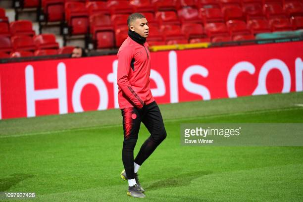 Kylian Mbappe of PSG during the Paris Saint Germain training session at Old Trafford on February 11 2019 in Manchester England
