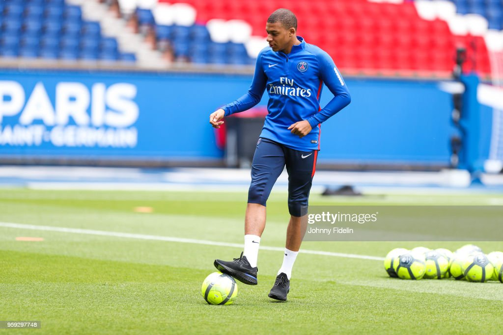 Kylian Mbappe of PSG during the training session of Paris Saint Germain at Parc des Princes on May 16, 2018 in Paris, France.