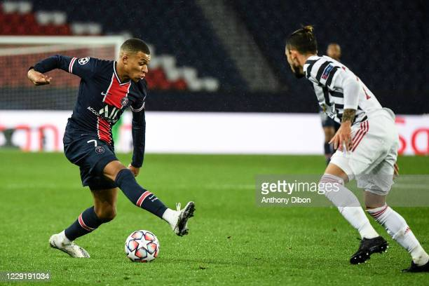 Kylian MBAPPE of PSG during the UEFA Champions League match between Paris Saint Germain and Manchester United at Parc des Princes on October 20 2020...