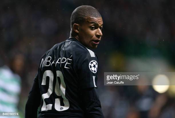 Kylian Mbappe of PSG during the UEFA Champions League match between Celtic Glasgow and Paris Saint Germain at Celtic Park on September 12 2017 in...