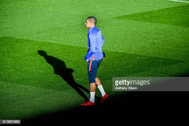 Kylian Mbappe of PSG during training session of Paris Saint Germain PSG at Camp des Loges on January 26 2018 in Paris France