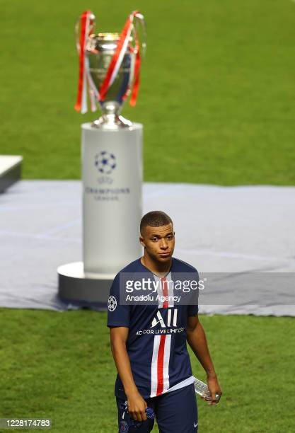 Kylian Mbappe of PSG gestures at the end of the UEFA Champions League final football match between Paris Saint-Germain and Bayern Munich at the Luz...