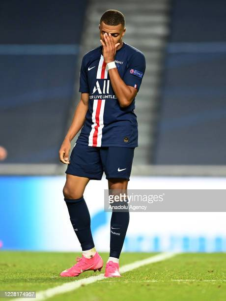 Kylian Mbappe of PSG gets upset at the end of the UEFA Champions League final football match between Paris Saint-Germain and Bayern Munich at the Luz...