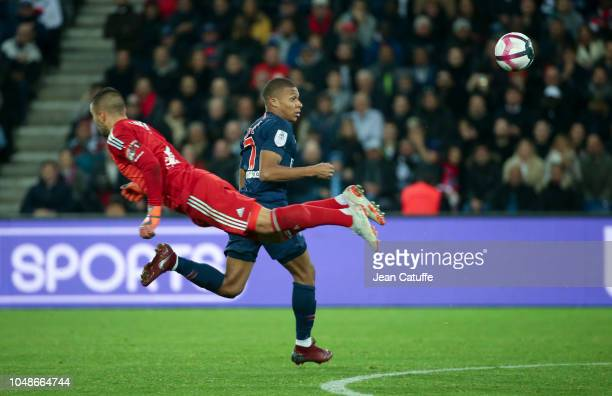 Kylian Mbappe of PSG goalkeeper of Lyon Anthony Lopes during the french Ligue 1 match between Paris SaintGermain and Olympique Lyonnais at Parc des...
