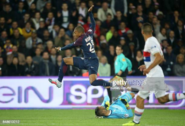 Kylian Mbappe of PSG goalkeeper of Lyon Anthony Lopes during the French Ligue 1 match between Paris Saint Germain and Olympique Lyonnais at Parc des...