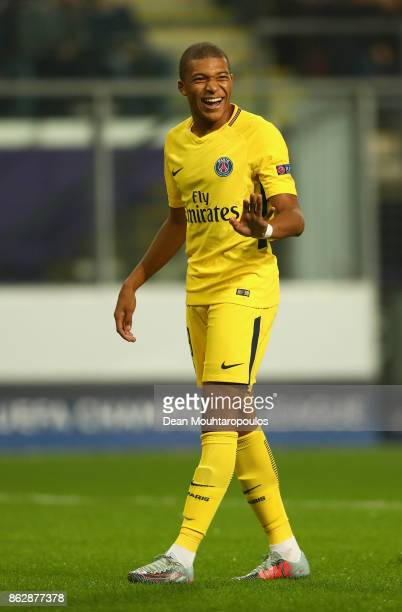 Kylian Mbappe of PSG in action during the UEFA Champions League group B match between RSC Anderlecht and Paris SaintGermain at Constant Vanden Stock...