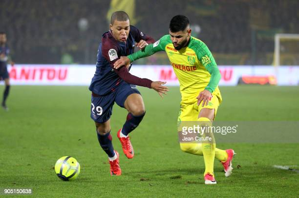 Kylian Mbappe of PSG Lucas Lima of FC Nantes during the French Ligue 1 match between FC Nantes and Paris Saint Germain at Stade de la Beaujoire on...
