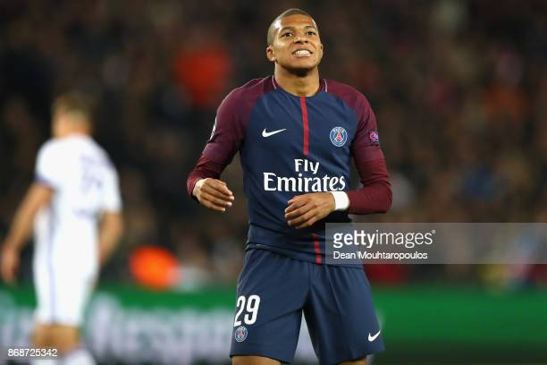 Kylian Mbappe of PSG reacts after missing a shot on goal during the UEFA Champions League group B match between Paris SaintGermain and RSC Anderlecht...