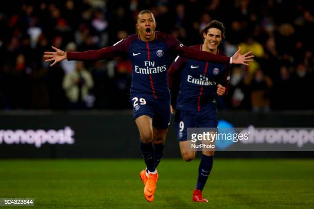 Kylian Mbappe of PSG scored a goal and celebration during the French Championship Ligue 1 soccer match between Paris SaintGermain and Olympique de...