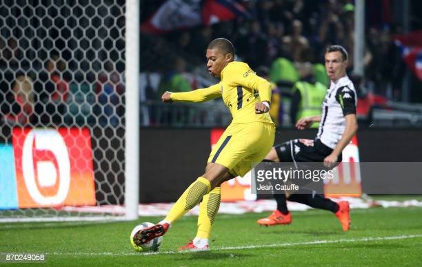 Kylian Mbappe of PSG scores his second goal the fifth for PSG during the French Ligue 1 match between Angers SCO and Paris Saint Germain at Stade...