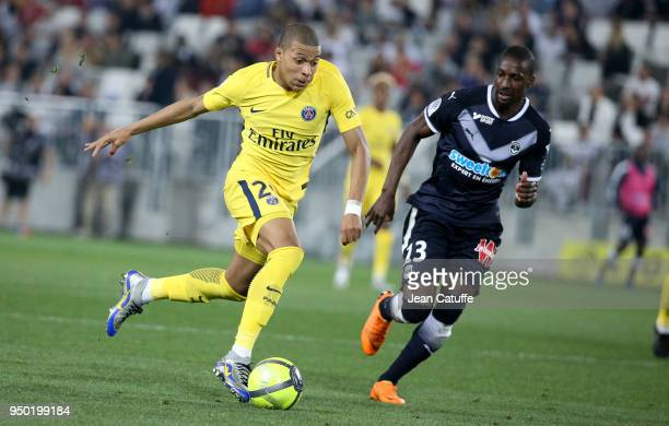 Kylian Mbappe of PSG Younousse Sankhare of Bordeaux during the French Ligue 1 match between FC Girondins de Bordeaux and Paris Saint Germain at Stade...
