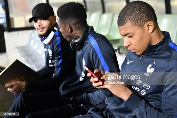 Kylian Mbappe Ousmane Dembele and Layvin Kurzawa of France during the FIFA World Cup 2018 qualifying match between Luxembourg and France on March 25...