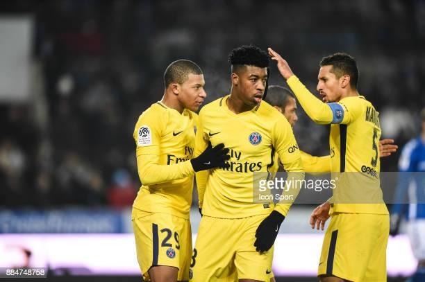 Kylian Mbappe Presnel Kimpembe and Marquinhos of PSG during the Ligue 1 match between Strasbourg and Paris Saint Germain at La Meinau Stadium on...