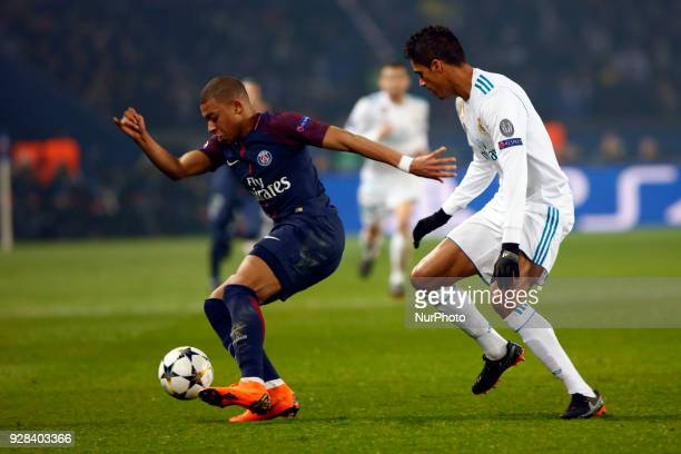 Kylian Mbappe Raphael Varane during the UEFA Champions League football match Paris SaintGermain vs Real Madrid on March 6 2018 at the Parc des...