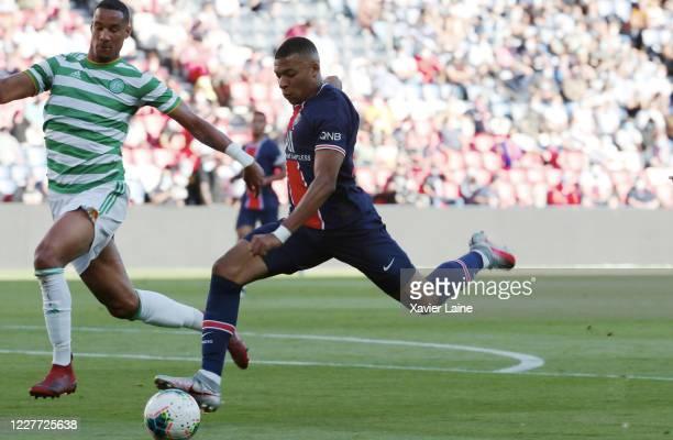 Kylian Mbappe scores a goal during the Friendly match between Paris Saint Germain and Celtic at Parc des Princes on July 21 2020 in Paris France...