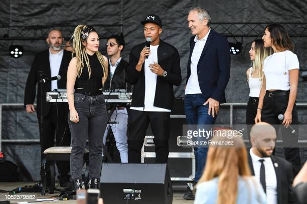 Kylian Mbappe with the music band LEJ during the return of UEFA Soccer World Champion Kylian Mbappe to his hometown Bondy to celebrate the UEFA World...