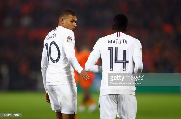 Kylian MbappeLottin of France speaks to Blaise Matuidi of France during the UEFA Nations League Group A match between Netherlands and France at the...
