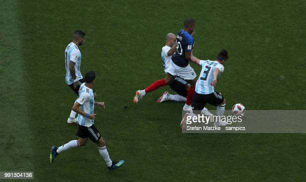 Kyliane Mbappe of France Nicolas TAGLIAFICO of Argentina during the 2018 FIFA World Cup Russia Round of 16 match between France and Argentina at...