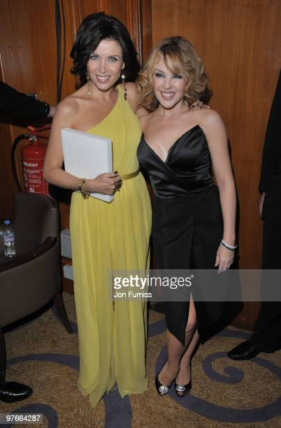 Kylie and Dannii Minogue poses in the winners room at the ELLE Style Awards at Grand Connaught Rooms on February 22, 2010 in London, England.
