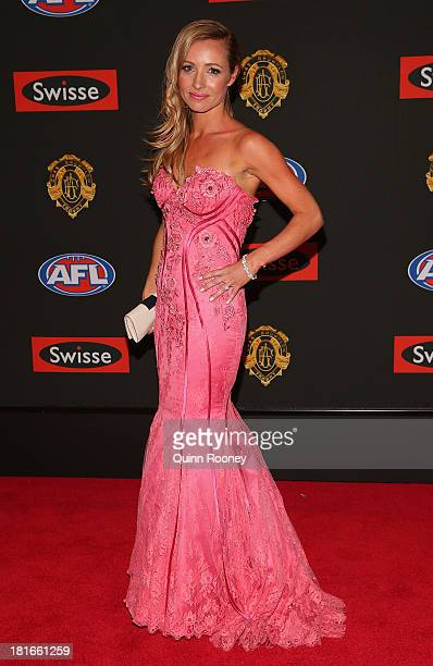 Kylie Battye the partner of Andrew Walker of the Blues poses ahead of the 2013 Brownlow Medal at Crown Palladium on September 23 2013 in Melbourne...